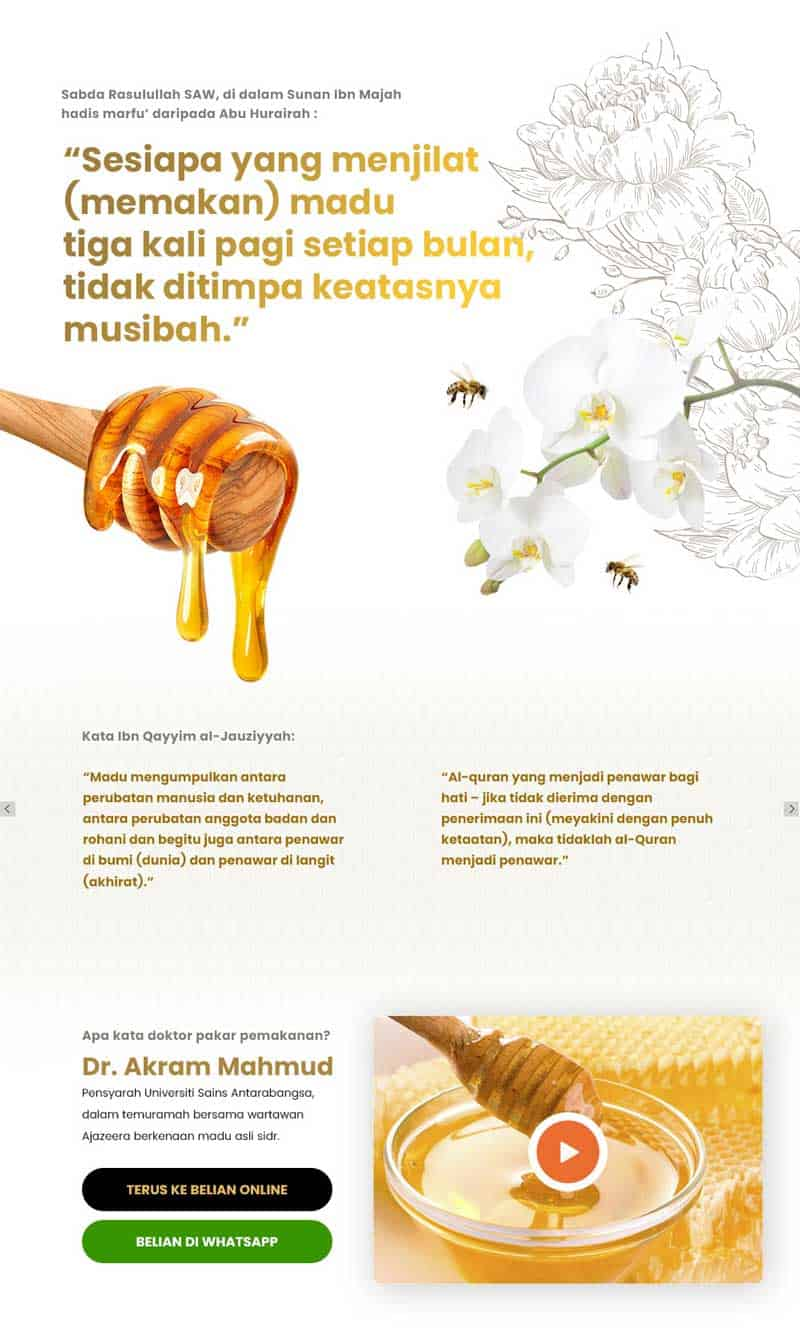 HUBBEE Madu Sidr - Web Design For Honey Product - Ecommerce Website